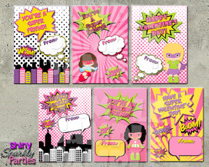 Girl Superhero Valentines Printable (Digital File Only)-Digital Download, Printable File, Instant Download-Forever Fab Boutique