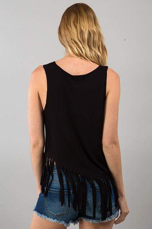 Gypsy Fringe Tank Top in Black-Top-Forever Fab Boutique