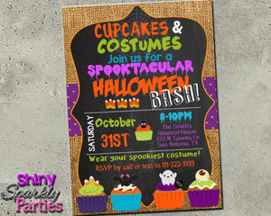 Halloween Party Invitation - Cupcakes & Costumes - Printable (Digital File Only)-Digital Download, Printable File, Invitation-Forever Fab Boutique