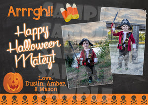 Halloween Photo Card - Pirate Themed Halloween Photo Card - Printable (Digital File Only)-Digital Download, Printable File-Forever Fab Boutique