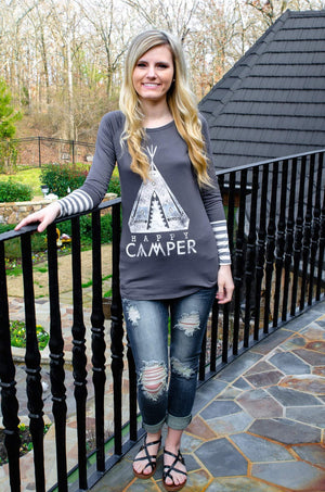 Happy Camper Long Sleeve Top Charcoal-T-Shirt-Forever Fab Boutique