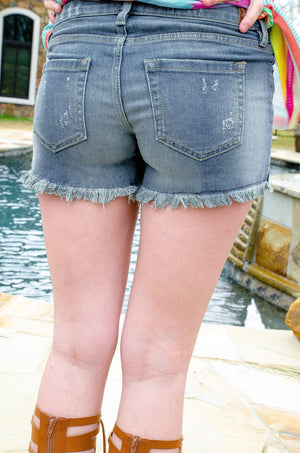 Hints of Lace Distressed Denim Shorts-Shorts-Forever Fab Boutique