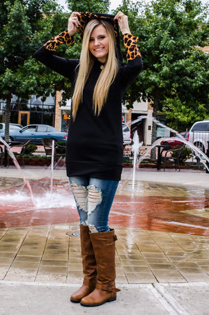 Hints of Leopard Print Hoodie Black-tops-Forever Fab Boutique