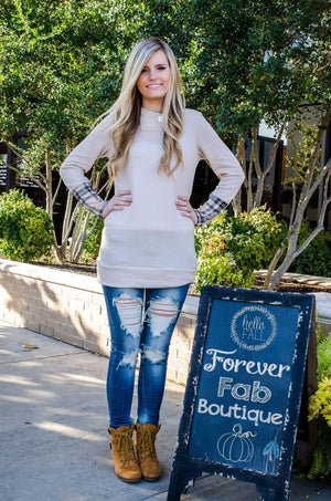Hints Of Plaid Hoodie Taupe Plaid Sleeves-Top-Forever Fab Boutique