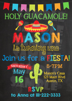 Holy Guacamole - Fiesta Birthday Invitation - Printable (Digital File Only)-Digital Download, Printable File, Invitation-Forever Fab Boutique