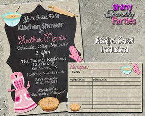 Kitchen Shower Invitation - Bridal Shower Invitation With Matching Recipe Card Printable (Digital File Only)-Digital Download-Forever Fab Boutique