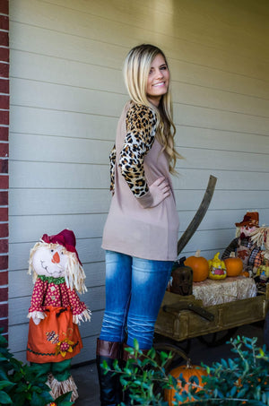 Leopard On My Sleeves Top Taupe-Top-Forever Fab Boutique