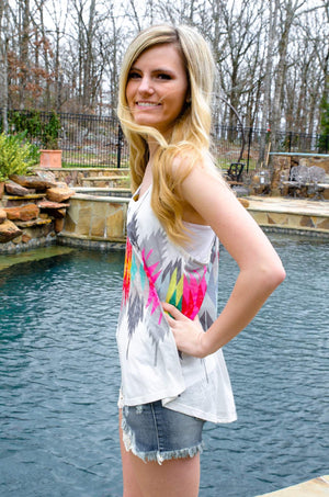 Light As A Feather Aztec Print Tank Top-Forever Fab Boutique