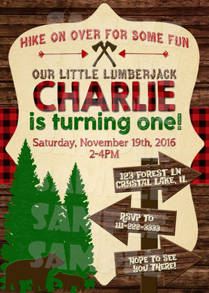 Lumberjack Invitation - Buffalo Plaid Woodland Invite - Printable (Digital File Only)-Digital Download, Printable File, Invitation-Forever Fab Boutique