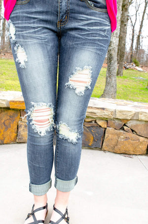 Machine Lightly Distressed Skinny Jeans Amber Wash-Bottom-Forever Fab Boutique