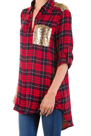Mad About Plaid Top - Sequin and Plaid Tunic Top-top-Forever Fab Boutique