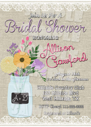Mason Jar Bridal Shower Invitation Printable (Digital File Only)-Digital Download-Forever Fab Boutique