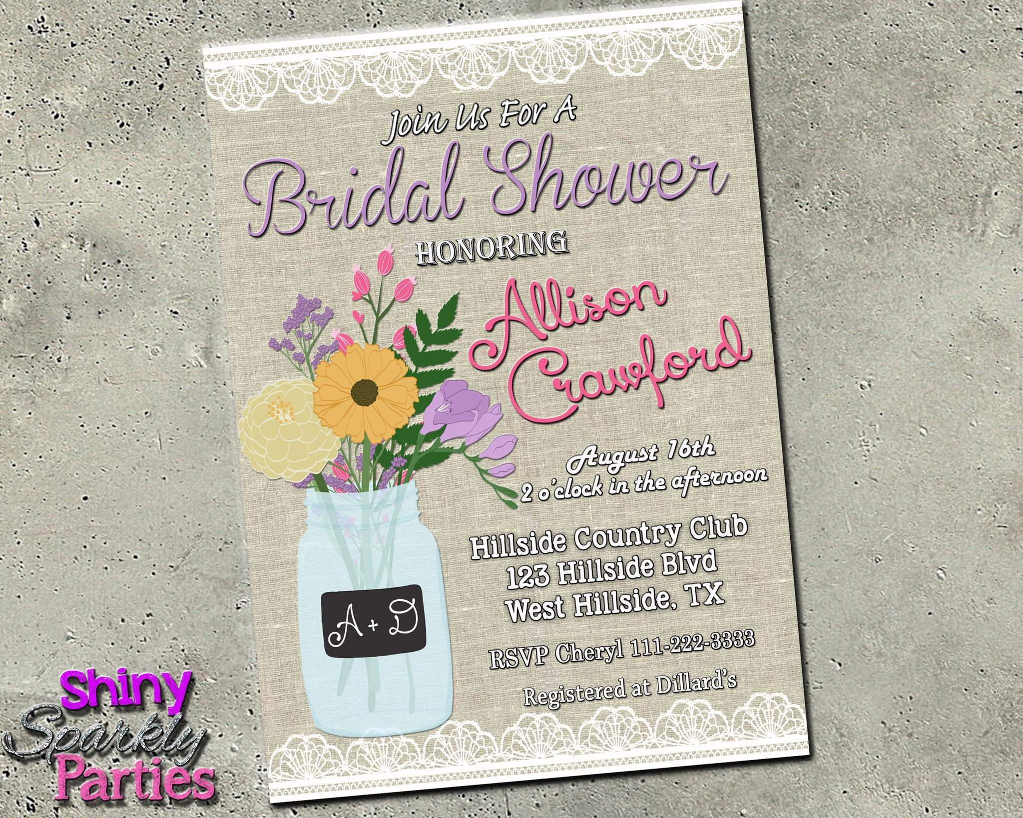 photo relating to Bridal Shower Invitations Printable identified as Mason Jar Bridal Shower Invitation