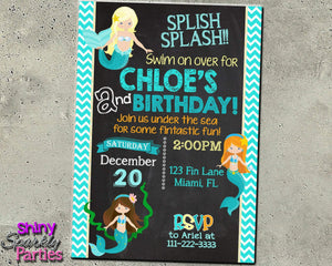 Mermaid Birthday Invitation - Under The Sea Invitation Printable (Digital File Only)-Digital Download, Printable File, Invitation-Forever Fab Boutique