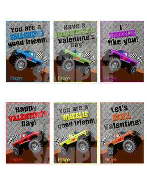 Monster Truck Valentine Cards - Printable (Digital File Only) Instant Download-Digital Download, Printable File, Instant Download-Forever Fab Boutique