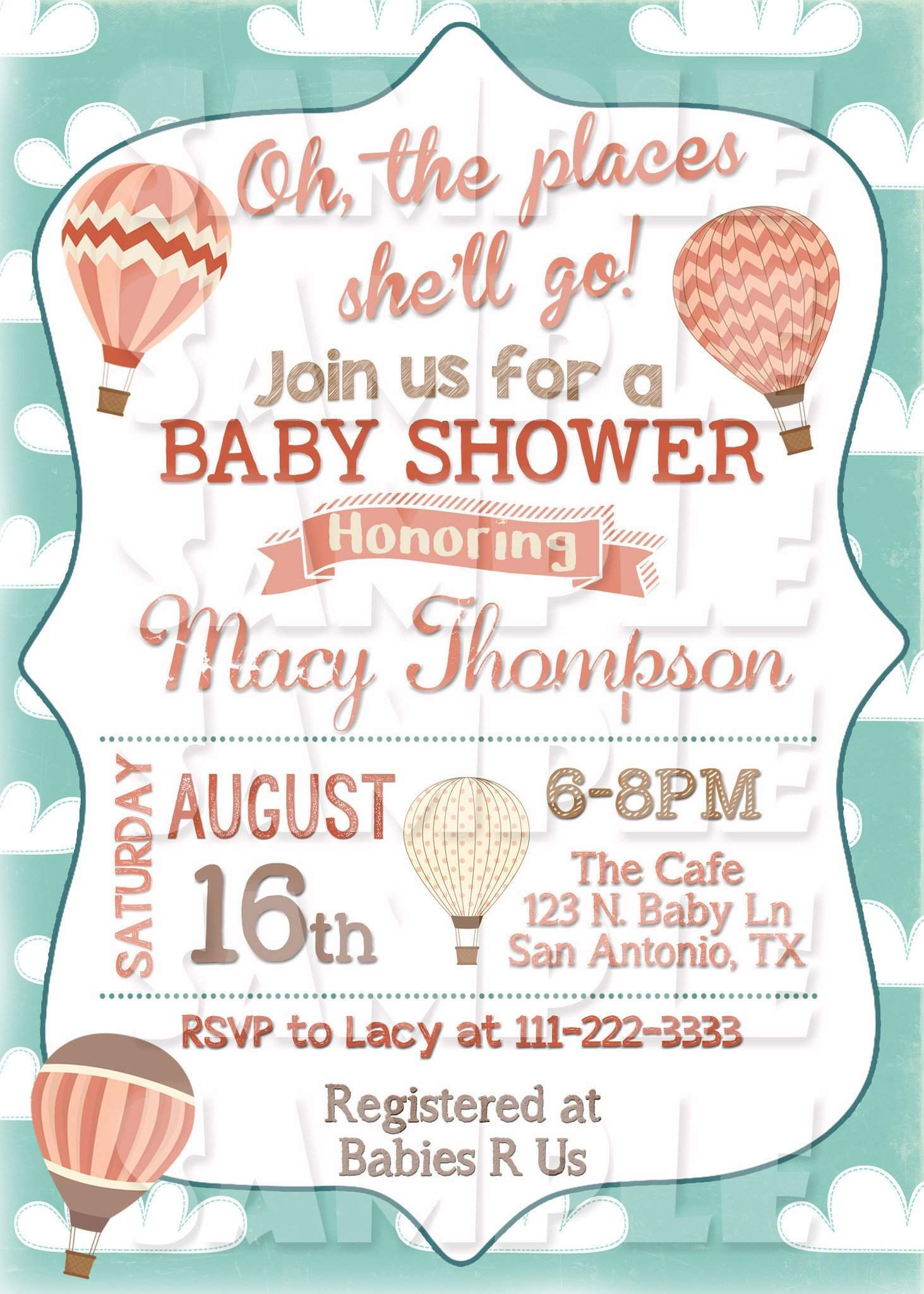 Oh The Places You Will Go Baby Shower Invitation - Hot Air Balloon ...