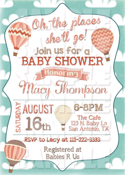 Oh The Places You Will Go Baby Shower Invitation Hot Air Balloon