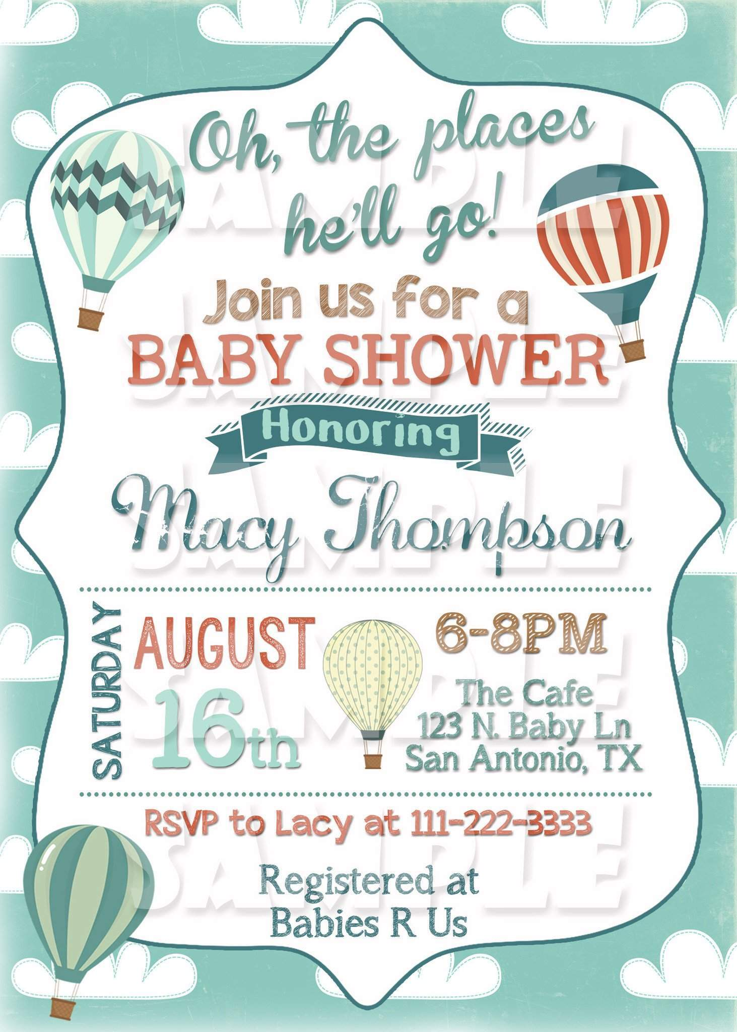 photo relating to Baby Shower Invitation Printable named Oh The Spots Oneself Will Shift Youngster Shower Invitation - Incredibly hot Air Balloon Invite