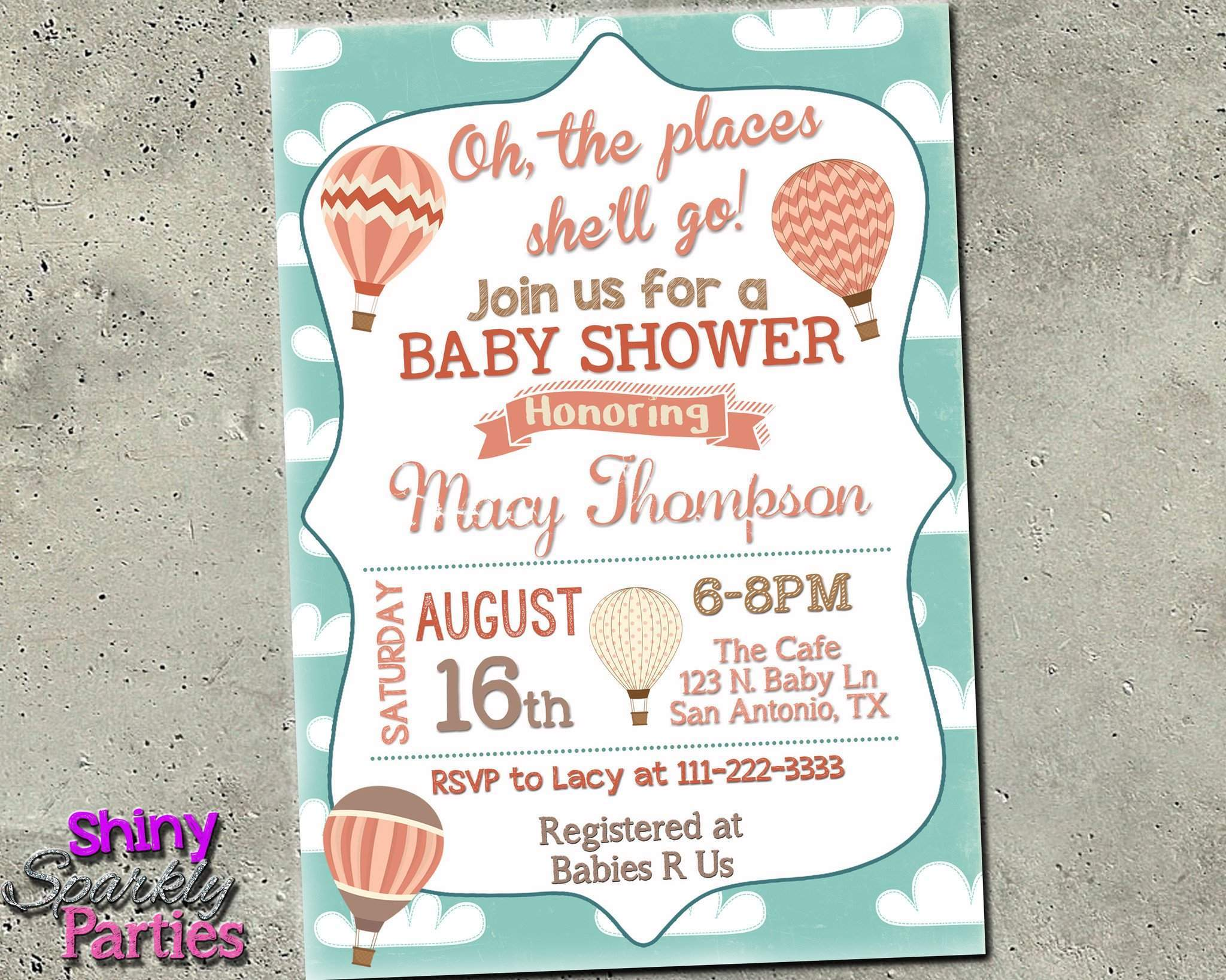 image about Baby Shower Invitation Printable identified as Oh The Destinations By yourself Will Move Kid Shower Invitation - Sizzling Air Balloon Invite