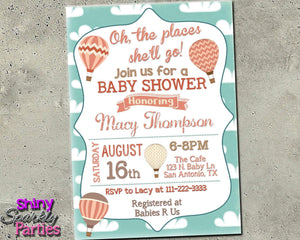 Oh The Places You Will Go Baby Shower Invitation - Hot Air Balloon Invite Printable (Digital File Only)-Digital Download, Printable File, Invitation-Forever Fab Boutique