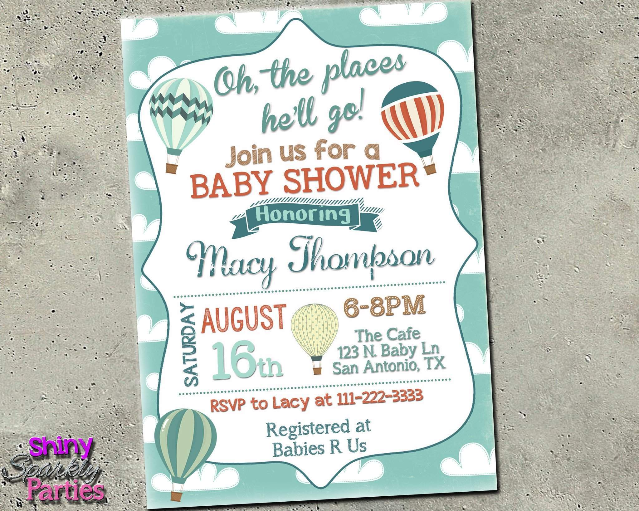 photo relating to Baby Shower Invites Printable identified as Oh The Areas On your own Will Shift Kid Shower Invitation - Very hot Air Balloon Invite