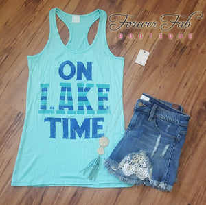 On Lake Time Tank in Mint-shirt-Forever Fab Boutique