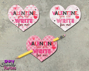 Pencil Valentines - Heart Valentines Printable (Digital File Only)-Digital Download, Printable File, Instant Download-Forever Fab Boutique