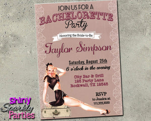 Pin Up Girl Bachelorette Party Invitation Printable (Digital File Only)-Forever Fab Boutique