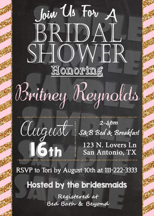 Pink and Gold Bridal Shower Invitation Printable (Digital File Only)-Digital Download, Printable File, Invitation-Forever Fab Boutique