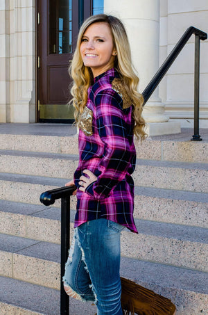 Pink Sequins And Plaid Top-Top-Forever Fab Boutique