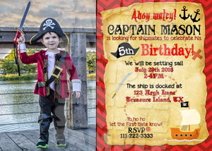 Pirate Birthday Invitation with or without custom photo Printable (Digital File Only)-Digital Download, Printable File, Invitation-Forever Fab Boutique