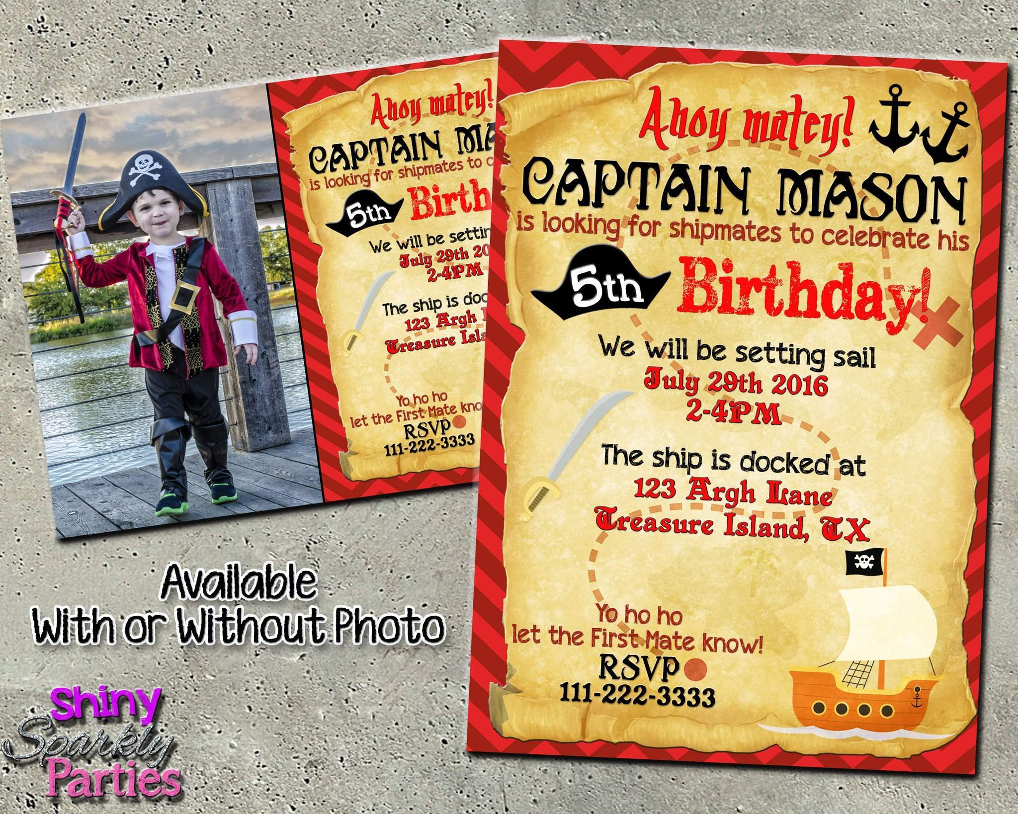 Pirate birthday invitation with or without custom photo forever pirate birthday invitation with or without custom photo printable digital file only digital filmwisefo