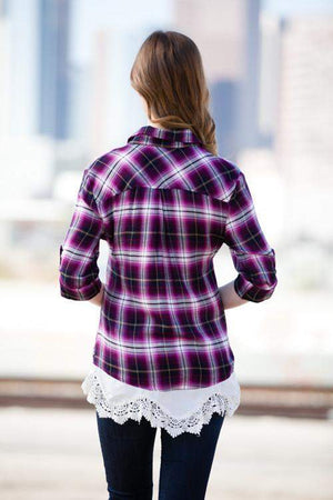 Plaid And Lace Button Up Top Magenta-Top-Forever Fab Boutique