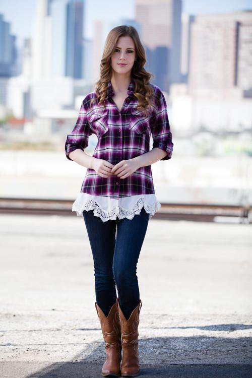 79ff4b9ac3860 Plaid And Lace Button Up Top Magenta-Top-Forever Fab Boutique