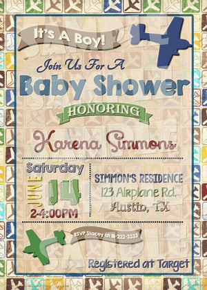 Printable Airplane Baby Shower Invitation (Digital File Only)-Digital Download-Forever Fab Boutique