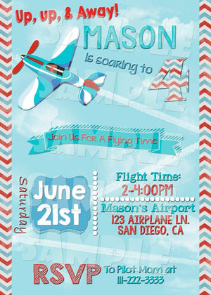Printable Airplane Birthday Invitation (Digital File Only)-Digital Download-Forever Fab Boutique