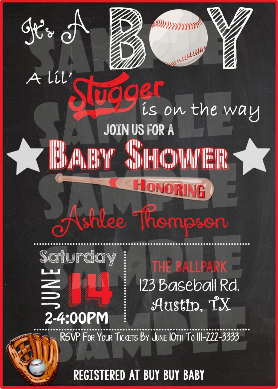 Baseball Baby Shower Invitation - Forever Fab Boutique