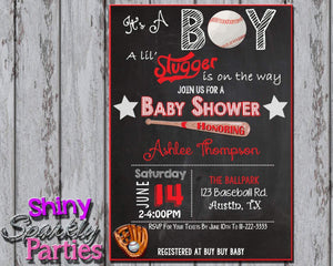 Printable Baseball Baby Shower Invitation (Digital File Only)-Digital Download-Forever Fab Boutique