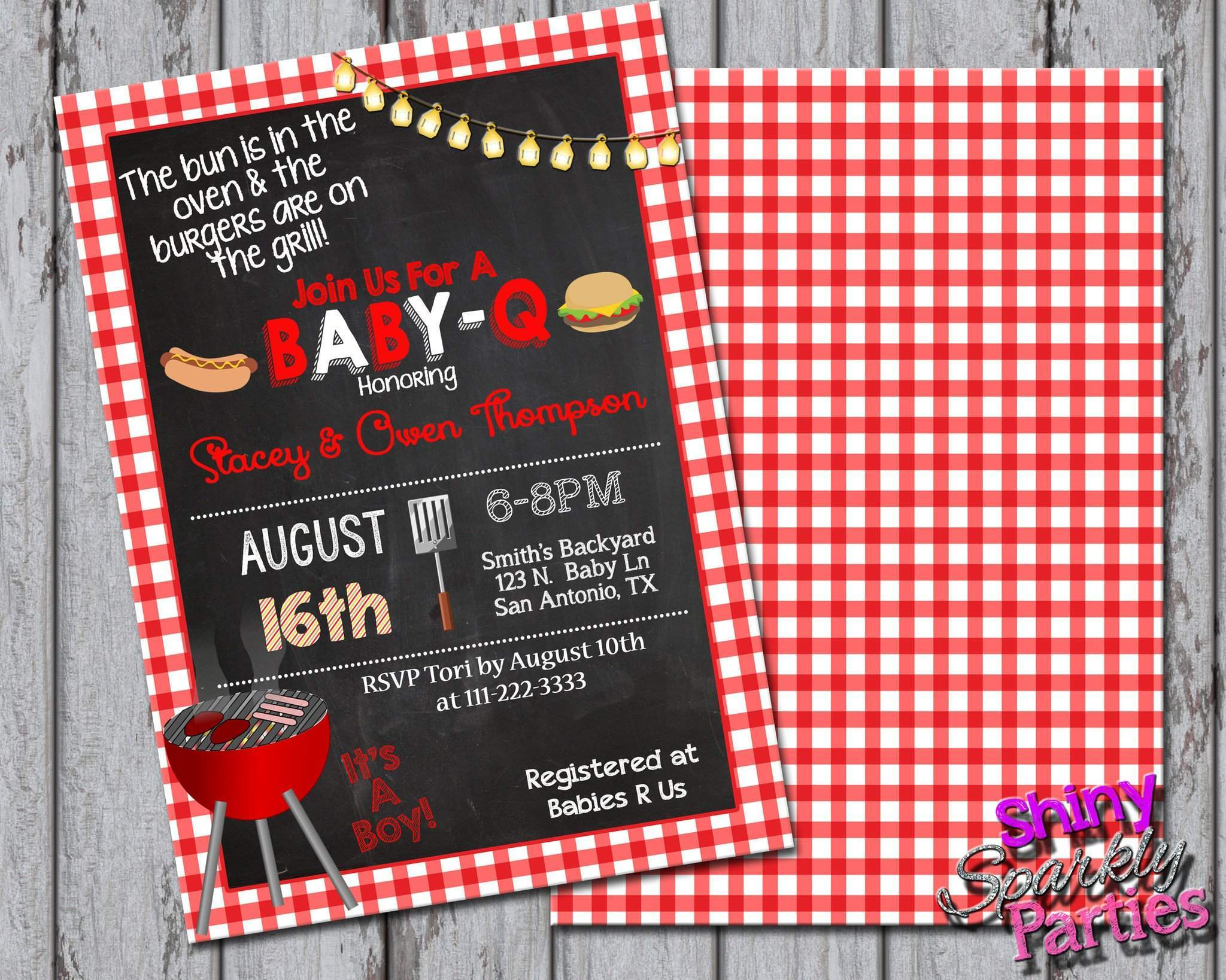 Great Printable BBQ Baby Shower Invitation (Digital File) Digital  Download Forever Fab Boutique ...
