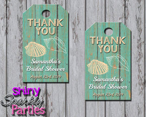 Printable Beach Themed Bridal Shower Favor Tags (Digital File Only)-Digital Download-Forever Fab Boutique