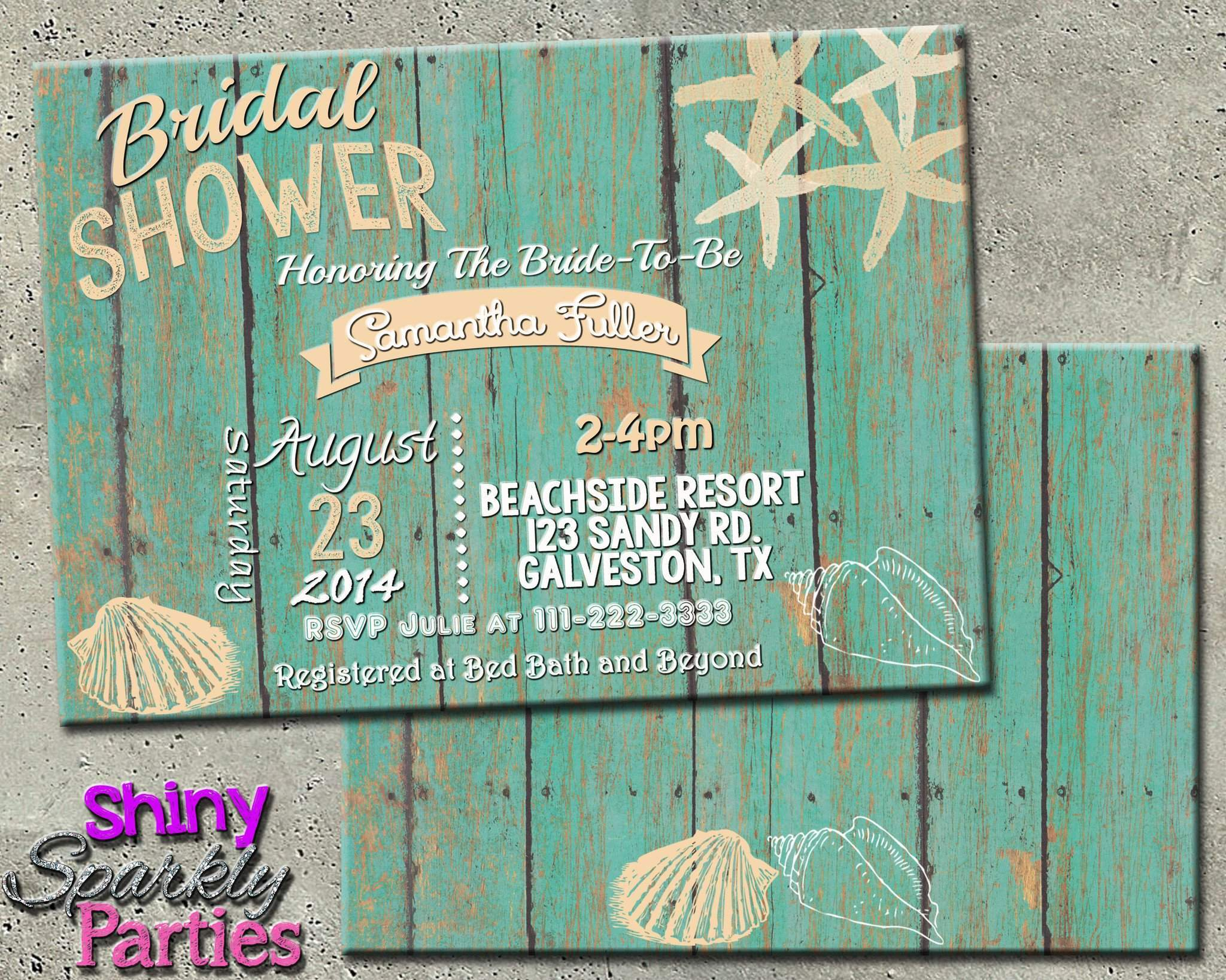 image relating to Printable Shower Invitations titled Seashore Themed Bridal Shower Invitation
