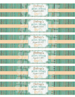 Printable Beach Themed Bridal Shower Water Bottle Labels (Digital File Only)-Digital Download,Printable File-Forever Fab Boutique