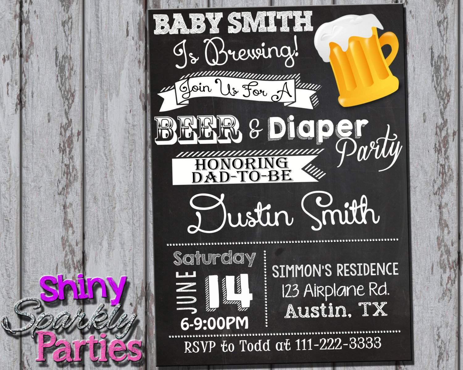 Beer And Diaper Party Invitation Coed Baby Shower Invitation