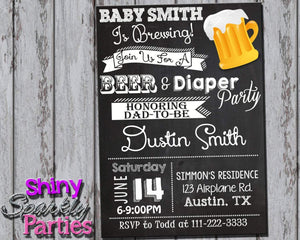 Printable Beer And Diaper Party Invitation - Coed Baby Shower Invitation (Digital File Only)-Digital Download-Forever Fab Boutique