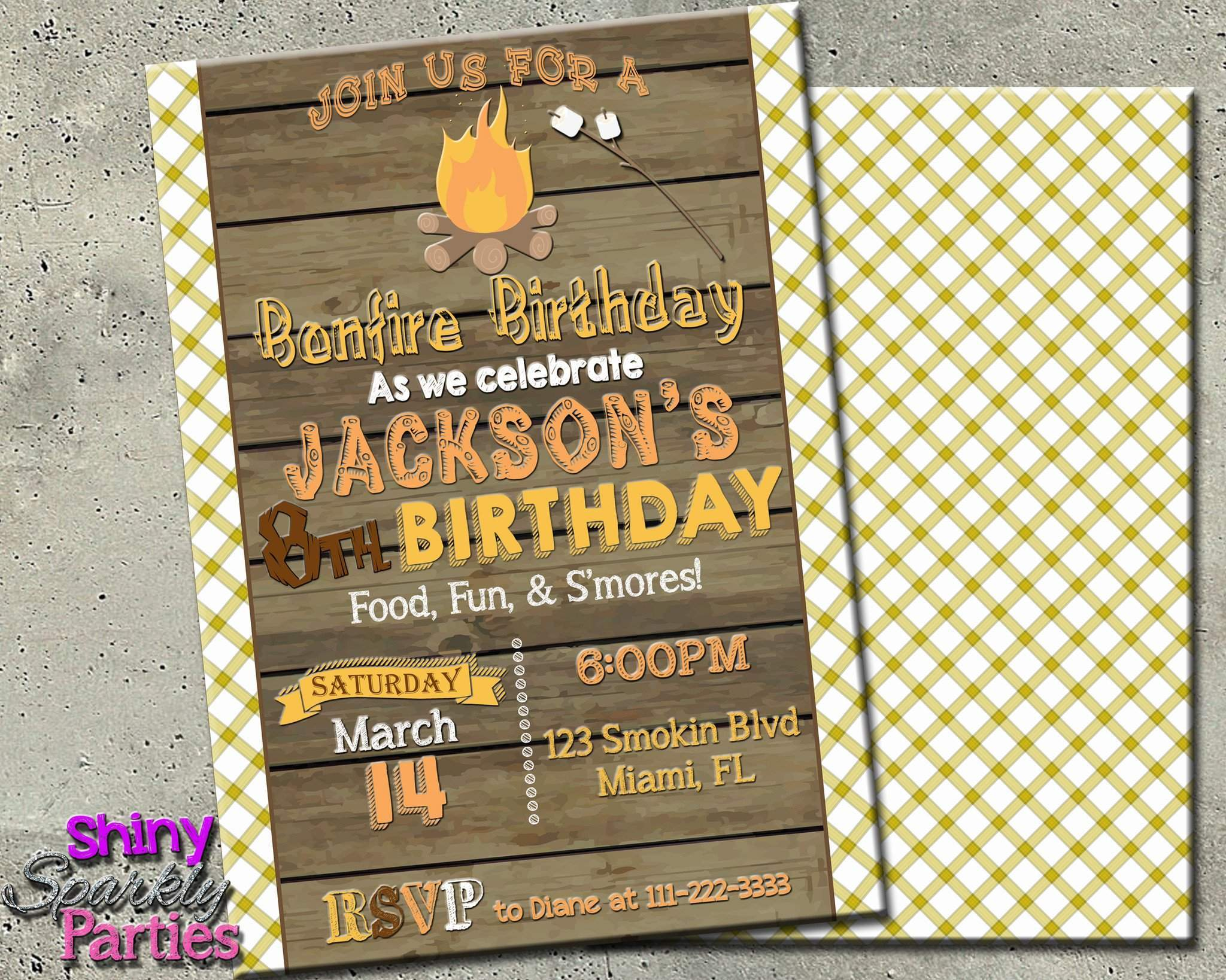 Printable Bonfire Birthday Invitation Digital File Only Download Forever Fab Boutique
