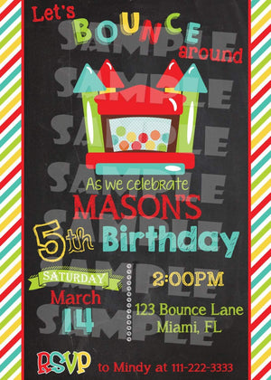Printable Bounce House Birthday Invitation (Digital File Only)-Digital Download-Forever Fab Boutique