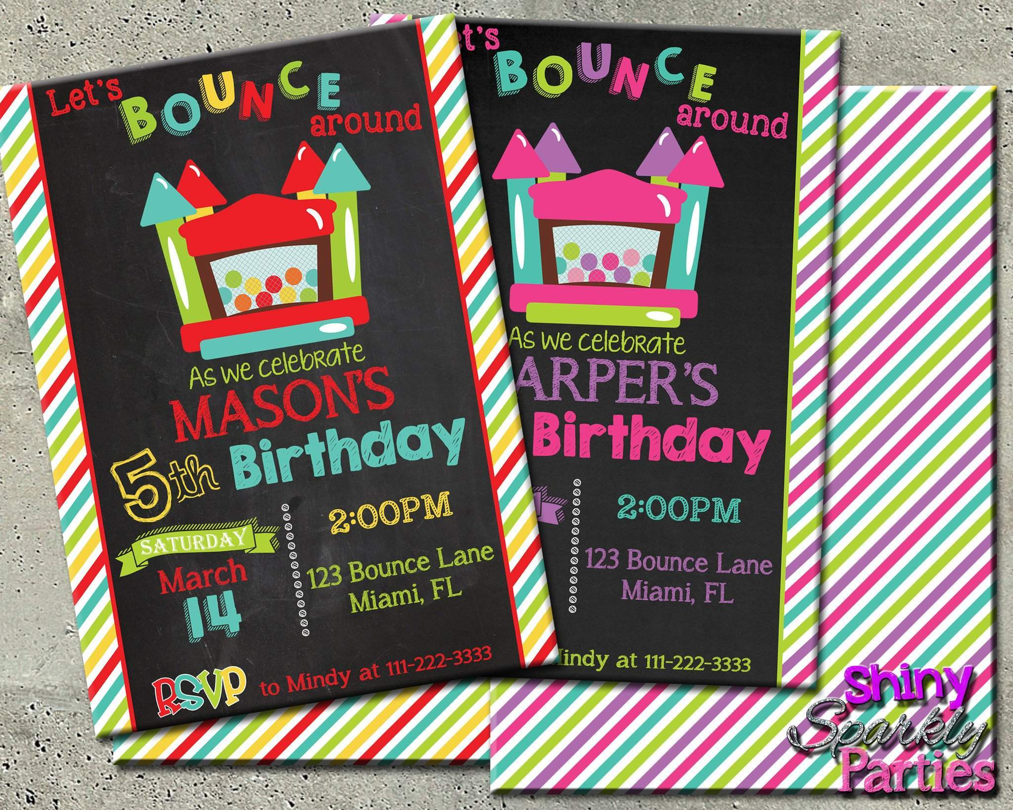 Printable Bounce House Birthday Invitation Digital File Only Download Forever Fab