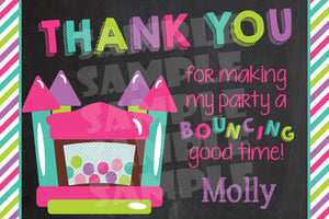 Printable Bounce House Birthday Thank You Card (Digital File Only)-Digital Download, Printable File-Forever Fab Boutique