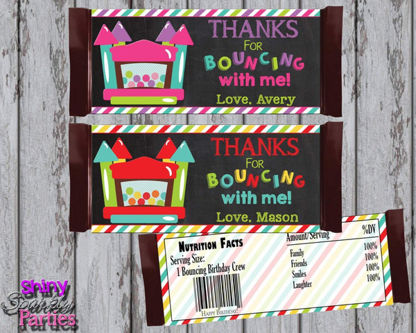 Printable Bounce House Candy Bar Wrappers (Digital File Only)-Digital Download,Printable File-Forever Fab Boutique