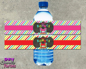 Printable Bounce House Water Bottle Labels (Digital File Only)-Digital Download, Printable File-Forever Fab Boutique